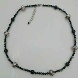 Black Stone Aquamarine silver ball 925 necklace